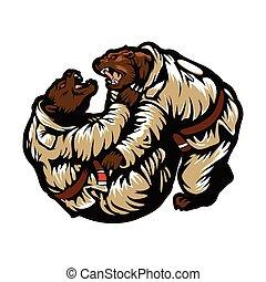 Two bears fighting. Karate Bear