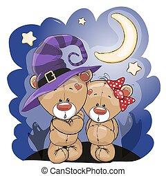 Two bears - Halloween card Two cute cartoon bears on the...