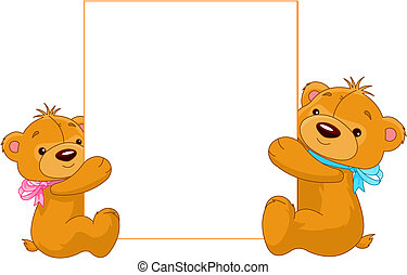 Illustration of two cartoon Teddy bears holding a blank sign ready for you to input text of your choice