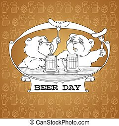 Two bears in friendly conversation over a beer.