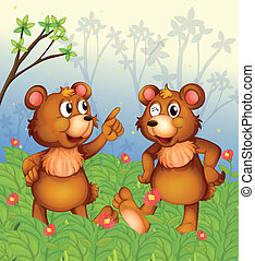 Two bears in the garden