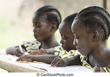 Two beautiful African girls and one African boy reading and...