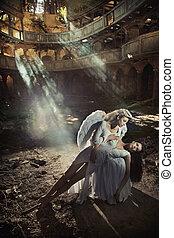 Two beautiful angel women posing