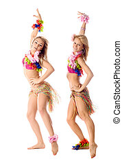 two beautiful dancers in hawaiian costumes isolated