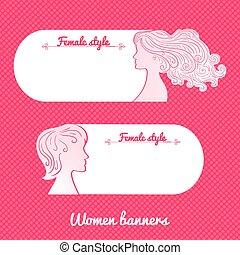 Two beautiful female romantic vector banner