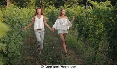 Two beautiful girls in white clothes go hand in hand over the vineyards