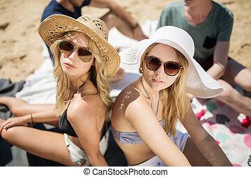 Two beautiful girls on the beach