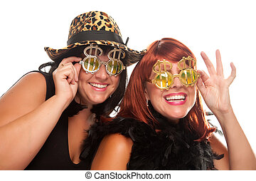 Two Beautiful Girls with Bling-Bling Dollar Glasses