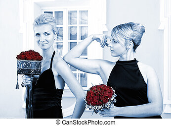 Two beautiful girls with flowers (toned in blue)