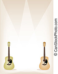Two Beautiful Guitar on Brown Stage Background