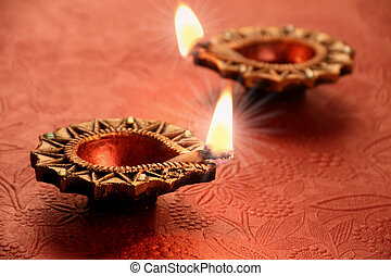 Two Beautiful Lit Diya - Diwali Celebrations