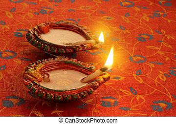 Two Beautiful Lit Diya - Diwali Celebrations