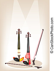 Two Beautiful Modern Violins on Brown Stage Background -...