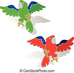 Two beautiful parrot in flight, cartoon-silhouette on white background,
