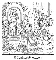 Two beautiful princesses communicate with fans near fountain Cupid with a jug rose overlaid in a secluded corner of the palace park outlined for coloring
