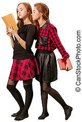 Two beautiful schoolgirls reading book
