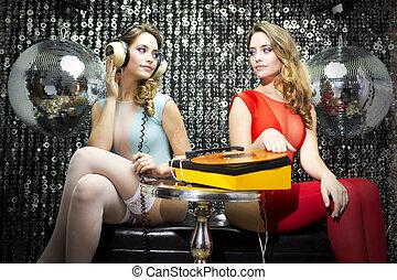 two beautiful sexy disco women - a beautiful sexy disco...
