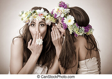 Two beautiful spring fairy , funny, friendship symbol