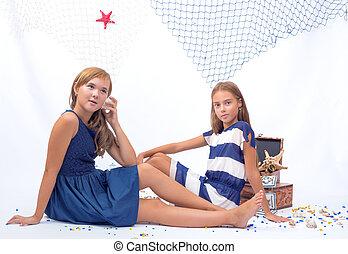 Two beautiful teen girls