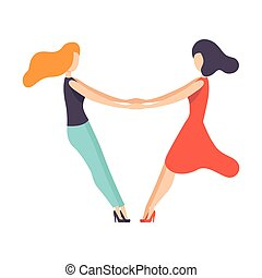 Two Beautiful Women Friends Holding Hands, Happy Meeting, Female Friendship Vector Illustration