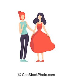 Two Beautiful Women Friends Talking to Each Other, Female Friendship Vector Illustration