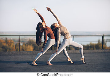 Two beautiful women perform double pose warrior with raised...
