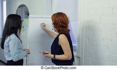 Two beautiful women prepare presentation at office.