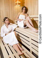 Two beautiful women relaxing in a sauna