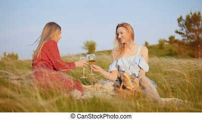 Two beautiful women sitting on the field and having a picnic - drinking white wine