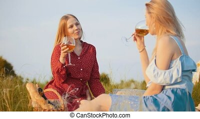 Two beautiful women sitting on the field and having a picnic - drinking wine