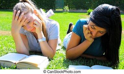 Two beautiful women students