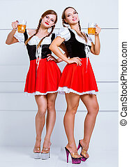 Bavarian women with beer