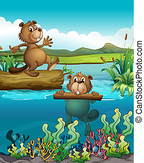 Two beavers at the deep river - Illustration of the two...