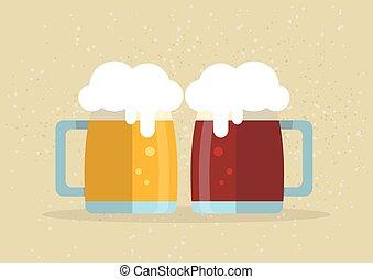 two beer mugs