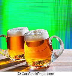two beer on the table with modern background