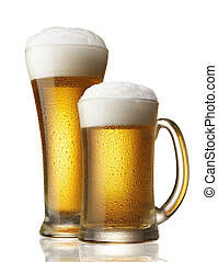 two beers with foam in mug and glass