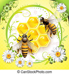 Two bees and honeycombs isolated over springtime background
