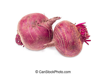 Two beetroots on a light background