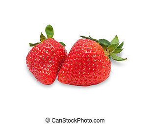 Two berries ripe strawberries isolated