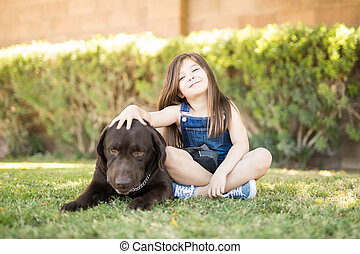 Two best friends - girl and her dog