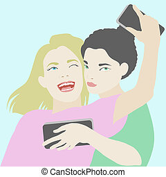 Two best friends making selfie on smartphone illustration