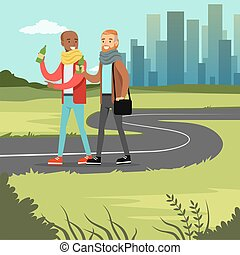 Two best male friends drinking beer while walking on city street, friendship concept vector Illustration