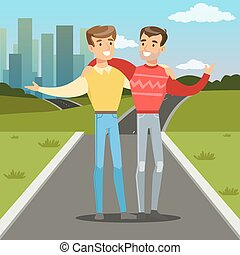Two best male friends walking on city street, young people hugging, friendship concept vector Illustration