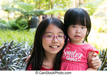 Two best sister in park