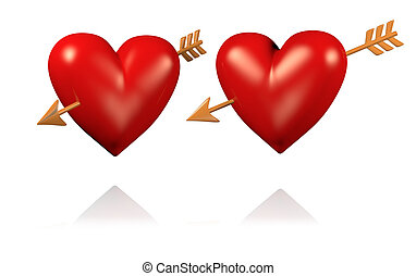 Two Big and Red Hearts with Golden Arrows