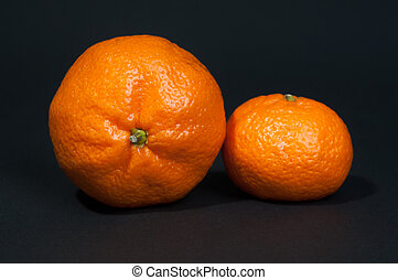 Two big and small tangerine on black background
