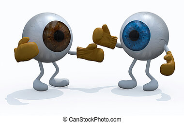two big eyeball with boxing gloves in a fight, 3d...