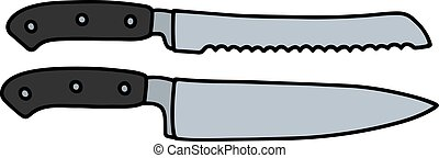 Two big kitchen knives