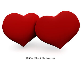 Two big red hearts isolated on white. 3D love concepts.