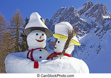 Two big snowmen at the Sexten ski resort in Italy